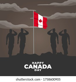 Happy Canada day. Celebrated annually on July 1 in Canada. Happy national holiday of freedom. Canada flag. Patriotic poster design. Vector illustration