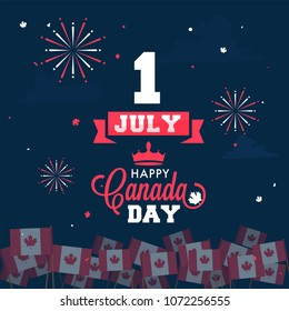 Happy Canada Day celebration concept with stylish text and canadian flags on fireworks background.