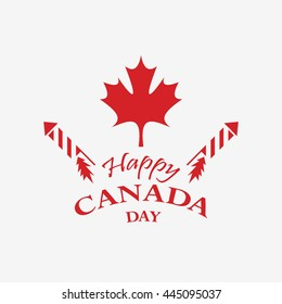 Happy Canada Day design in vector format.  Red leaf and fireworks on grey background.