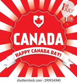 Happy Canada Day first of July. Vector modern stylish card illustration.