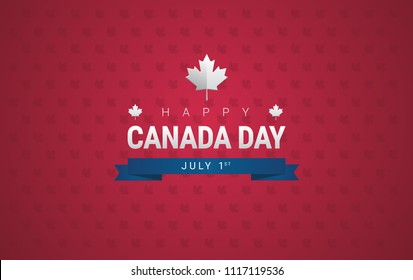 Happy Canada Day greeting card background vector illustration