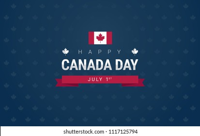 Happy Canada Day greeting card - Canada flag on blue background for the national day of Canada celebration - vector illustration