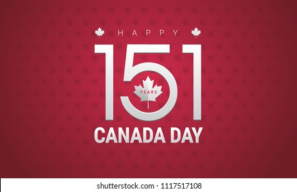 Happy Canada Day greeting card - Canada flag, maple leaf, 151 years Canada Independence day celebration - vector illustration