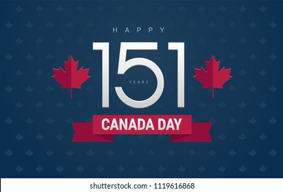 Happy Canada Day greeting card - Canada Day and 151 years text on blue background for the national day of Canada celebration - vector illustration