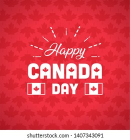 happy canada day greeting card maple leaf background vector illustration