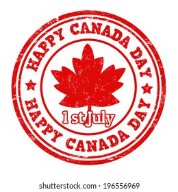 Happy Canada day grunge rubber stamp on white, vector illustration
