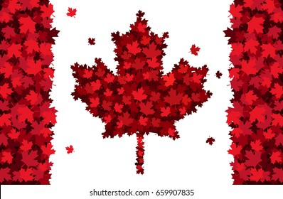 Happy Canada Day hand drawn lettering. Maple leaves texture. Vector illustration EPS10.