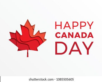 happy canada day horizontal banner design layout with text and paper cut colorful maple leaf. vector illustration for greeting cards, posters, flyers, invitations, brochures