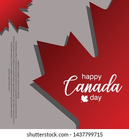 happy canada day horizontal banner design layout with text and paper cut colorful maple leaf. vector illustration