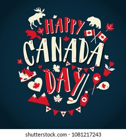 Happy Canada day illustration with flat symbols and hand drawn lettering