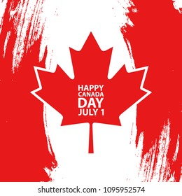 Happy Canada Day, july 1 holiday celebrate card. Maple leaf on red brush stroke background. Vector Illustration.