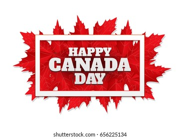 Happy Canada Day poster. 1st july. Vector illustration greeting card with frame. Canada Maple leaves on white background