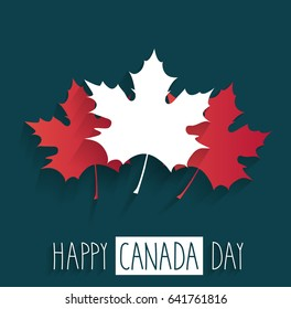 Happy Canada Day poster on blue background with handwritten text and maple leaf. Vector illustration.