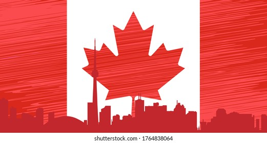 Happy Canada Day poster. Vector illustration greeting card. Canada Maple leaves on white background. red paper cut canada maple leaf. 1st of July celebration background