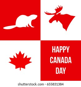 Happy Canada Day. Silhouettes of Canadian symbols: moose, beaver, maple leaf. Vector illustration