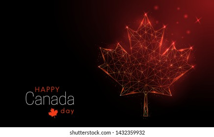 Happy Canada Day template. Maple leaf.