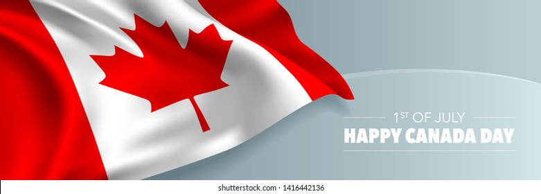 Happy Canada day vector banner, greeting card. Canadian wavy flag in 1st of July national patriotic holiday horizontal design