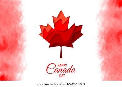 Happy Canada Day vector holiday poster with red paper cut canada maple leaf. 1th of July celebration watercolor Canada flag background