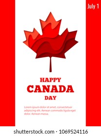 Happy Canada Day vector holiday poster with red paper cut canada maple leaf. 1th of July celebration banner on Canada flag background