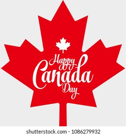 Happy Canada Day Vector Illustration. Red Canadian Leaf Shape Isolated on a white background. Canada Day Holiday Banner Design Template with Red Maple Leaf.