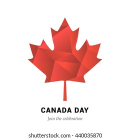 Happy Canada Day vector Illustration. 1st July celebration poster with polygon maple leaf.