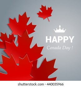 Happy Canada Day vector Illustration. 1st July celebration poster with maple leaves on gray background.