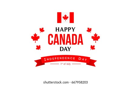 Happy Canada day vector illustration. Typography with red maple leaves and flag.