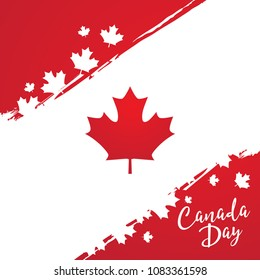 Happy canada day vector template with maple leaves