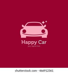 Happy Car Logo Design Template. Vector Illustration