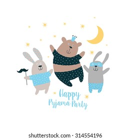 Happy Card, Pajama, party. Sweet animals background.