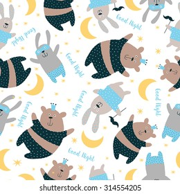 Happy Card, Pajama, party. Sweet seamless pattern with cute animals background.