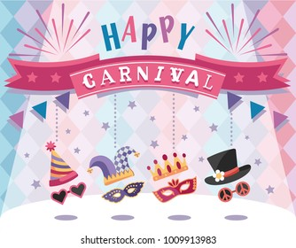 Happy Carnival. Colorful greeting card with festive elements. Flat design. Vector illustration.