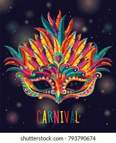 Happy carnival. Festive concept with mask. Carnival mask. Vector illustration