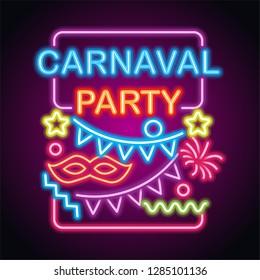 happy carnival festive concept neon sign. vector illustration