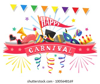 Happy Carnival. Greeting card with colorful festive elements separated on white background. Flat design. Vector illustration.