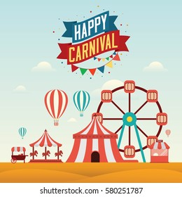 Happy Carnival Landscape Concept with label celebration. Vector Illustration