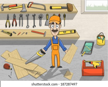 Happy carpenter cartoon character in cap sawing wooden board in workroom with tool planks poster vector illustration