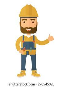 A happy carpenter standing wearing hard hat and overalls. A Contemporary style. Vector flat design illustration isolated white background. Vertical layout.