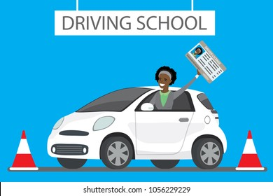 Happy cartoon african american female siting in white driving school car outdoor.Girl with driver license Design concept drivers education,flat vector illustration
