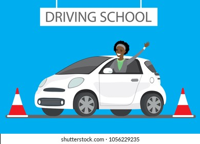 Happy cartoon african american female siting in white driving school car outdoor. Design concept drivers education,flat vector illustration