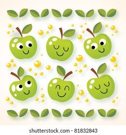 happy cartoon apples