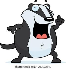 A happy cartoon badger with an idea.