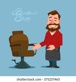 happy cartoon barber, barbershop, vector illustration, isolated on background