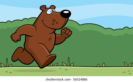 A happy cartoon bear running and smiling.
