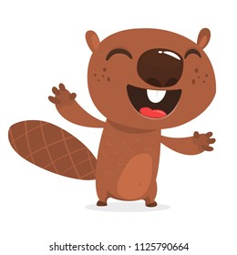 Happy cartoon beaver laughing. Brown beaver character. Vector illustration clipart. Big set of forest animals