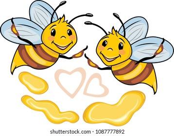 Happy cartoon bees and honey drops. Vector