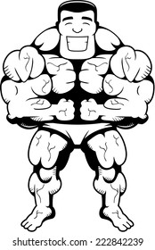A happy cartoon bodybuilder flexing and smiling.