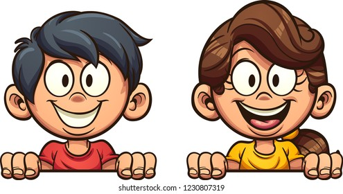 Happy cartoon boy and girl peeking out. Vector clip art illustration with simple gradients. Each on a separate layer.