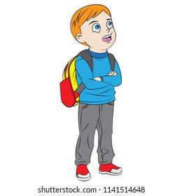 happy cartoon boy go back to school