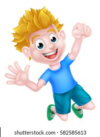 A happy cartoon boy jumping for joy and with a fist in the air.